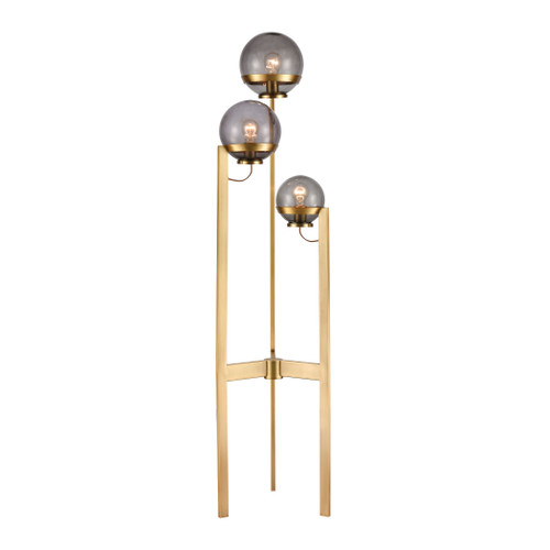 "58"" ELK Home South Water 3-Light Floor Lamp in Antique Brass and Smoked Glass, Transitional - 1"