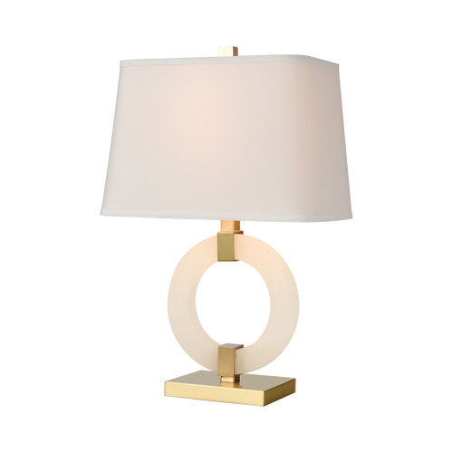 "23"" ELK Home Envrion Table Lamp in Honey Brass with a White Linen Shade, Transitional - 1"