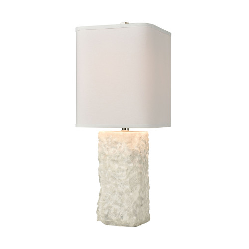 "27"" ELK Home Shivered Stone Table Lamp in White with a White Linen Shade, Transitional - 1"