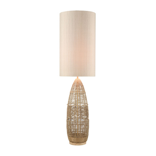"55"" ELK Home Husk Floor Lamp in Natural Rope Finish with Mushroom Linen Shade, Transitional - 1"