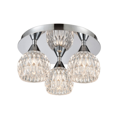 "12"" ELK Lighting Kersey 3-Light Semi Flush Mount in Polished Chrome with Clear Crystal, Modern / Contemporary - 1"