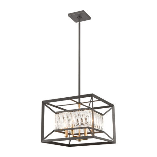 """15"""" ELK Lighting Starlight 4-Light Chandelier in Charcoal with Clear Crystal, Modern / Contemporary - 1"""