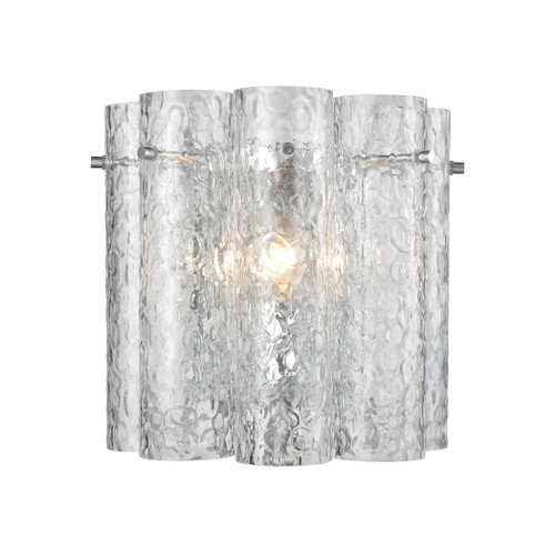 "10"" ELK Lighting Glass Symphony 1-Light Sconce in Polished Chrome with Clear Textured Glass Cylinders, Modern / Contemporary - 1"