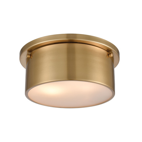 """10"""" ELK Lighting 2-Light Flush Mount in Satin Brass with Frosted Glass, Modern / Contemporary - 1"""