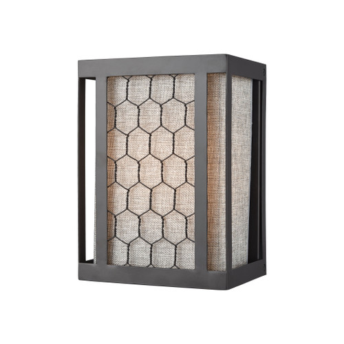 "10"" ELK Lighting Filmore 1-Light Sconce in Oiled Bronze with Wire Mesh and Gray Linen Fabric Shade, Transitional - 1"