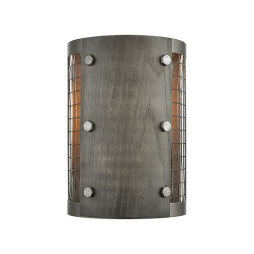 """10"""" ELK Lighting Halstead 1-Light Sconce in Ash Gray and Dark Gray Wood with Wood and Wire Mesh Shade, Transitional - 1"""
