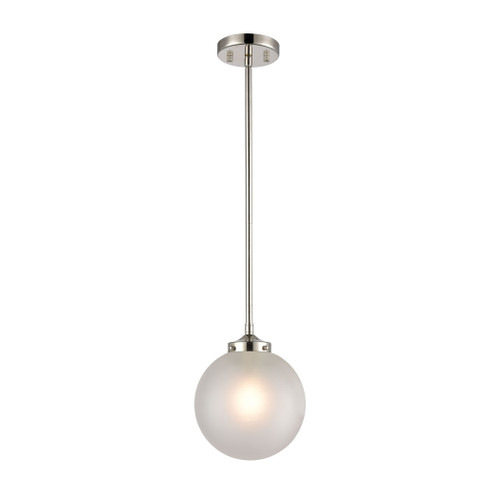 """10"""" ELK Lighting Boudreaux 1-Light Mini Pendant in Polished Nickel with Frosted, Modern / Contemporary - 1"""
