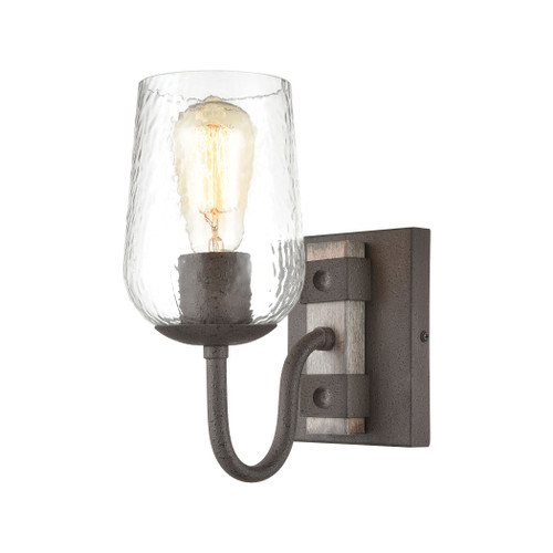 "11"" ELK Lighting Dillon 1-Light Vanity Light in Vintage Rust with Clear Hammered Glass, Traditional - 1"