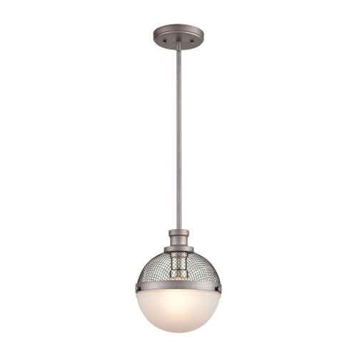 "11"" ELK Lighting Calabria 1-Light Mini Pendant in Weathered Zinc and Polished Nickel with Frosted Glass, Transitional - 1"