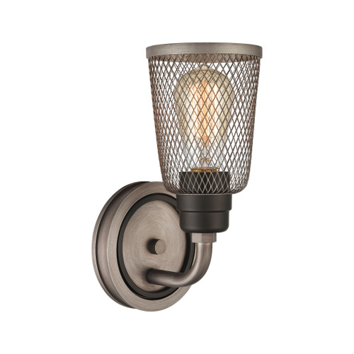 "11"" ELK Lighting Glencoe 1-Light Vanity Light in Oil Rubbed Bronze with Weathered Zinc Metal Mesh, Transitional - 1"