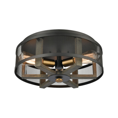 "17"" ELK Lighting Woodbridge 3-Light Flush Mount in Weathered Oak and Aged Brass with Matte Black Metal Mesh, Transitional - 1"