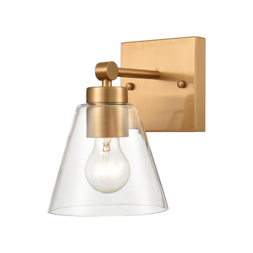 "10"" ELK Lighting East Point 1-Light Vanity Light in Satin Brass with Clear Glass, Transitional - 1"