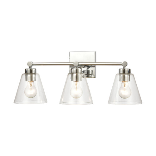 "24"" ELK Lighting East Point 3-Light Vanity Light in Polished Chrome with Clear Glass, Transitional - 1"