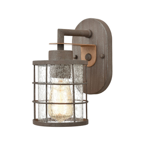 "11"" ELK Lighting Gilbert 1-Light Vanity Light in Rusted Coffee and Light Wood with Seedy Glass, Traditional - 1"