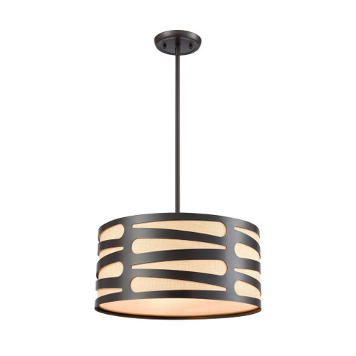 """16"""" ELK Lighting Alton 3-Light Chandelier in Oil Rubbed Bronze with Laser-cut Metal and Beige Linen Shade, Modern / Contemporary - 1"""
