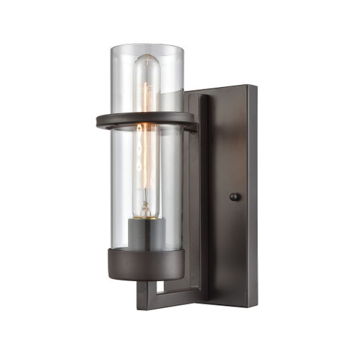 "10"" ELK Lighting Holbrook 1-Light Wall Lamp in Oil Rubbed Bronze with Clear Blown Glass, Transitional - 1"