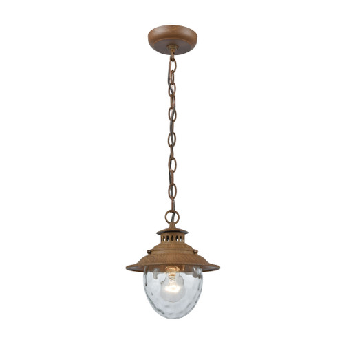 "10"" ELK Lighting Searsport 1-Light Outdoor Pendant in Dark Wood, Traditional - 1"