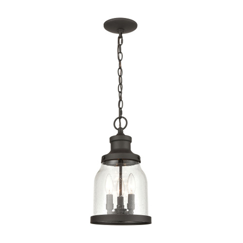 "15"" ELK Lighting Renford 3-Light Outdoor Pendant in Architectural Bronze with Seedy Glass, Traditional - 1"