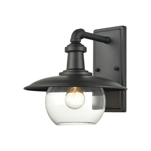 "12"" ELK Lighting Jackson 1-Light Outdoor Sconce in Matte Black with Clear Glass, Traditional - 1"