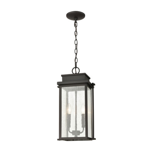 "19"" ELK Lighting Braddock 2-Light Outdoor Pendant in Architectural Bronze with Seedy Glass Enclosure, Transitional - 1"