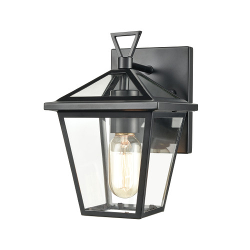 "10"" ELK Lighting Main Street 1-Light Outdoor Sconce in Black with Clear Glass Enclosure, Traditional - 1"