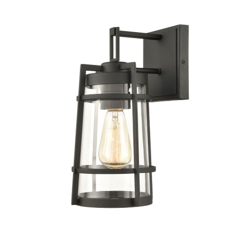 "12"" ELK Lighting Crofton 1-Light Outdoor Sconce in Charcoal with Clear Glass, Transitional - 1"