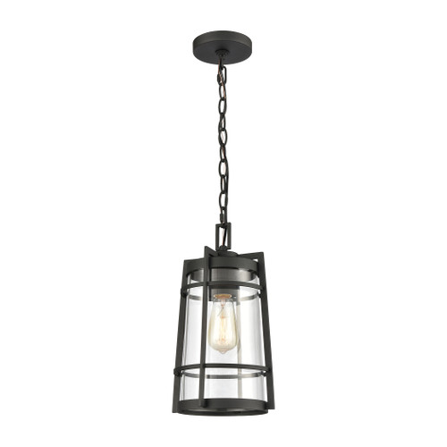 "14"" ELK Lighting Crofton 1-Light Outdoor Pendant in Charcoal with Clear Glass, Transitional - 1"