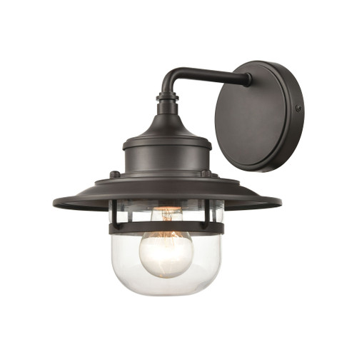 "10"" ELK Lighting Renninger 1-Light Outdoor Sconce in Oil Rubbed Bronze with Clear Glass, Traditional - 1"