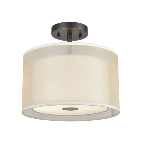 "12"" ELK Lighting Ashland 2-Light Semi Flush in Matte Black with Webbed Organza and White Fabric Shade, Modern / Contemporary - 1"