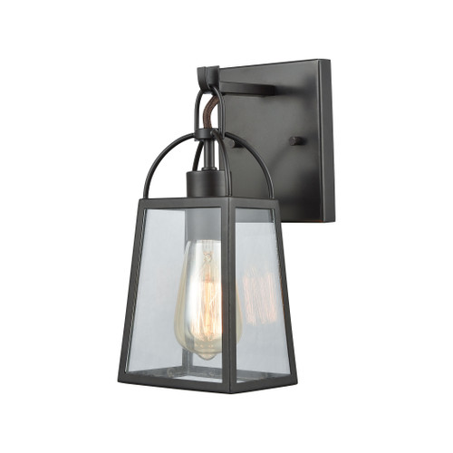 "11"" ELK Lighting Barnside 1-Light Vanity Lamp in Oil Rubbed Bronze with Clear Glass Panels, Transitional - 1"