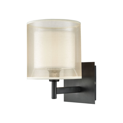 "10"" ELK Lighting Ashland 1-Light Vanity Lamp in Matte Black with Webbed Organza and White Fabric Shade, Modern / Contemporary - 1"