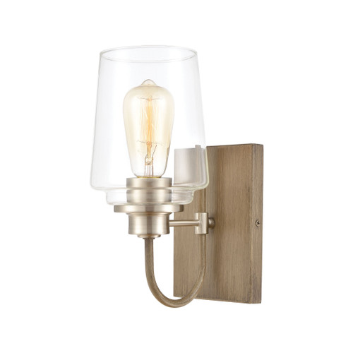 "11"" ELK Lighting Bakersfield 1-Light Vanity Light in Light Wood with Clear Glass, Transitional - 1"