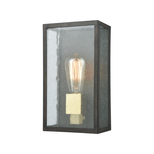 "11"" ELK Lighting McKenzie 1-Light Outdoor Sconce in Blackened Bronze and Brushed Brass, Modern / Contemporary - 1"