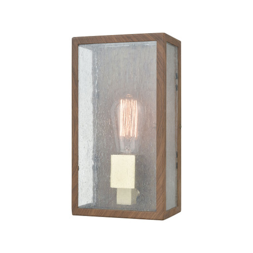 "11"" ELK Lighting McKenzie 1-Light Outdoor Sconce in Dark Wood Print and Brushed Brass, Modern / Contemporary - 1"