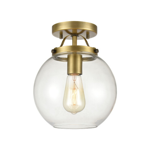 "10"" ELK Lighting Bernice 1-Light Semi Flush in Brushed Antique Brass with Clear Glass, Transitional - 1"