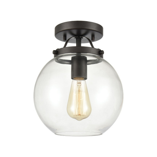 "10"" ELK Lighting Bernice 1-Light Semi Flush in Oil Rubbed Bronze with Clear Glass, Transitional - 1"