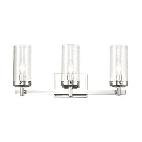 "20"" ELK Lighting Melinda 3-Light Vanity Light in Polished Chrome with Seedy Glass, Transitional - 1"