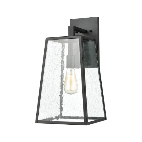 "18"" ELK Lighting Meditterano 1-Light Sconce in Matte Black with Seedy Glass, Transitional 1 - 1"