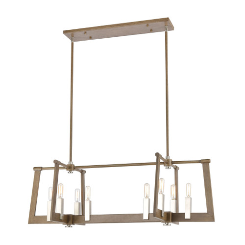 """36"""" ELK Lighting Axis 8-Light Linear Chandelier in Light Wood and Satin Nickel, Transitional - 1"""