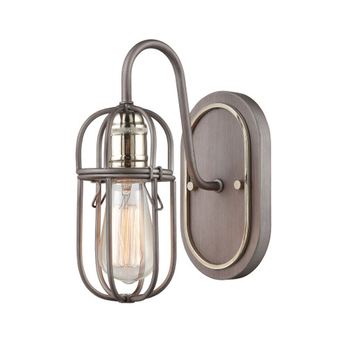 "10"" ELK Lighting Industrial Cage 1-Light Vanity Light in Weathered Zinc, Transitional - 1"