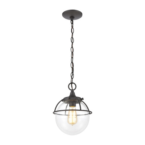 "12"" ELK Lighting Girard 1-Light Hanging in Charcoal with Clear Glass, Modern / Contemporary - 1"