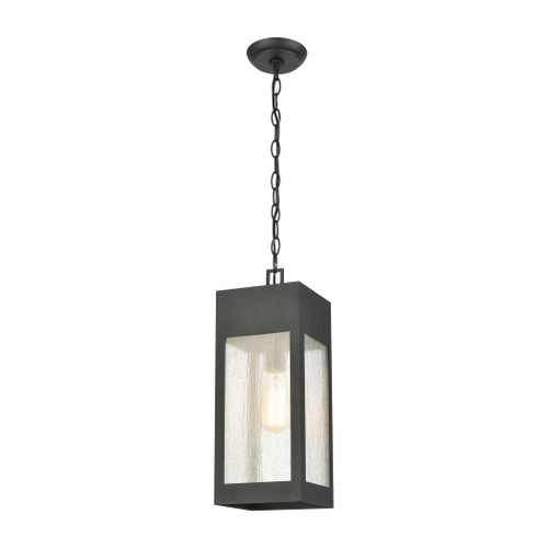 "18"" ELK Lighting Angus 1-Light Outdoor Pendant in Charcoal with Seedy Glass Enclosure, Modern / Contemporary - 1"