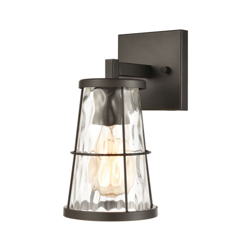 "11"" ELK Lighting Kendrix 1-Light Vanity Light in Oil Rubbed Bronze with Water Glass, Transitional - 1"