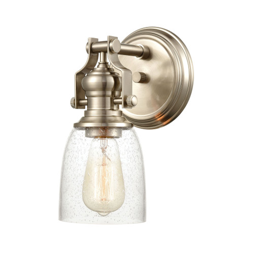 "10"" ELK Lighting Chadwick 1-Light Vanity Light in Satin Nickel with Seedy Glass, Transitional - 1"