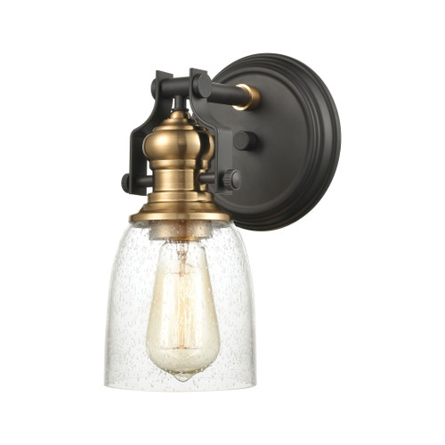 "10"" ELK Lighting Chadwick 4-Light Vanity Light in Oil Rubbed Bronze and Satin Brass with Seedy Glass, Transitional - 1"