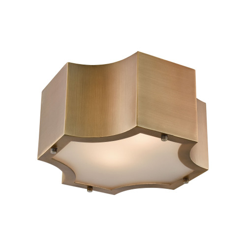 "11"" ELK Lighting Gordon 2-Light Flush Mount in Classic Brass with Frosted Glass Diffuser, Transitional - 1"
