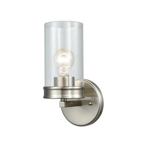 "11"" ELK Lighting Leland 1-Light Vanity Lamp in Satin Nickel with Clear Blown Glass, Transitional - 1"
