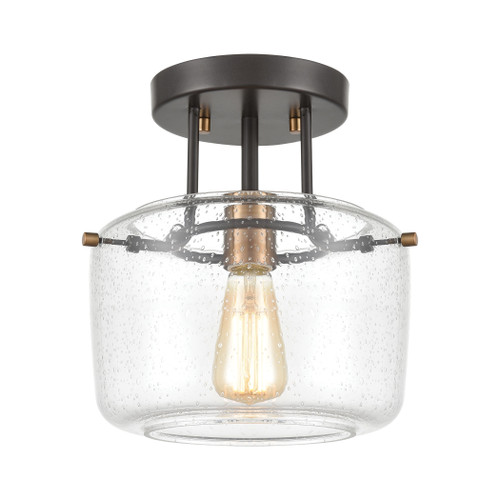 "10"" ELK Lighting Jake 1-Light Semi Flush Mount in Oil Rubbed Bronze with Seedy Glass, Transitional - 1"