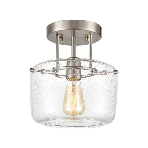 "10"" ELK Lighting Jake 1-Light Semi Flush Mount in Satin Nickel with Seedy Glass, Transitional - 1"