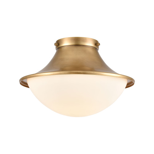 "13"" ELK Lighting Matterhorn 1-Light Flush Mount in Natural Brass with Opal White Glass, Transitional - 1"